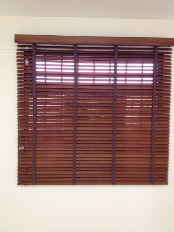 Combination colour Red and blue Timber Blinds| Curtains in Singapore Mtm Curtains