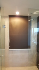 PVC Blackout Roller Blinds in Shimmering Brown colour installed in Shower Room (1)
