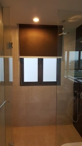 PVC Blackout Roller Blinds in Shimmering Brown colour installed in Shower Room (2)