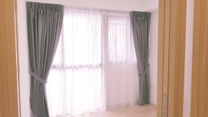 Grey tone Dim out curtains with off white day curtains  (1)