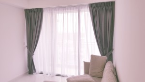 Grey tone Dim out curtains with off white day curtains  (2)