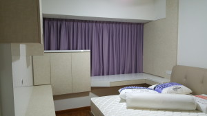 Master Bedroom with Dim out Curtains in Purple Colours (1)