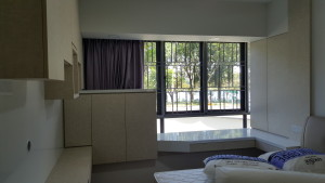 Master Bedroom with Dim out Curtains in Purple Colours (2)