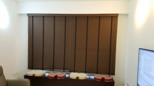 Punggol - Matilda Portico - Timber Blinds with Designed Roller Blinds (1)