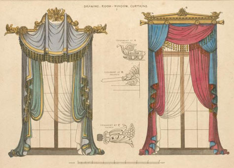 Combination red and blue sketch curtains|Curtains in Singapore Mtm Curtains